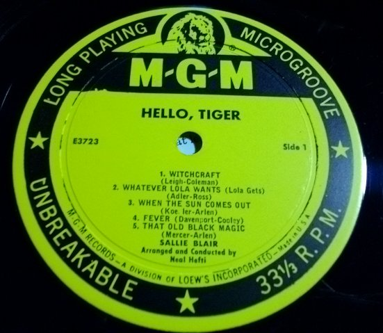 sallie blair hello tiger mgm e 3723 mono kind record. Black Bedroom Furniture Sets. Home Design Ideas